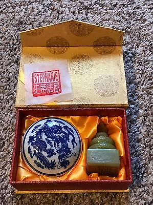Chinese Carved Stone Of A Snake Figure With Stamp / Seal For The Name Stephanie