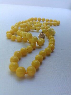 Chinese Yellow Jade Bead Necklace
