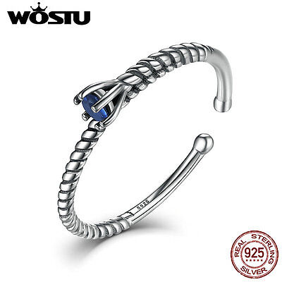 Wostu New Ancient S925 Sterling Silver open Ring with Cz Jewelry For Women/men