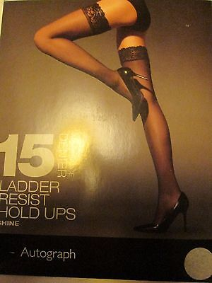 Ex M&s Lacy Top Ladder Resist Hold Ups 15 Denier Shiny Nearly Black  4 Sizes