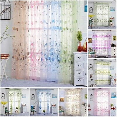 Floral Tulle Voile Door Window Curtain Drape Panel Sheer Scarf Valances Dividers