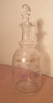 antique 18th century 1700s hand blown painted glass decanter bottle apothecary