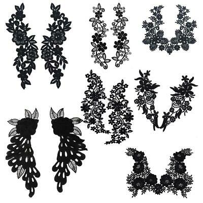 1 Pair Black Embroidered Floral Lace Collar Neckline Trimming Applique DIY