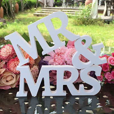 White Mr & Mrs Love Letters Sign Wooden Wedding Decoration Standing Top Table