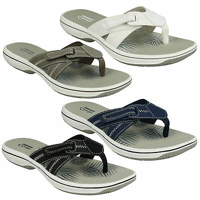 89b4120238c5 Brinkley Calm Ladies Clarks Toe Post Riptape Summer Flip Flops Mules Sandals