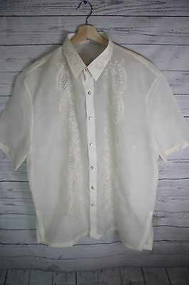 Men's Barong Traditional Formal Embroidered Philippines National Dress Shirt