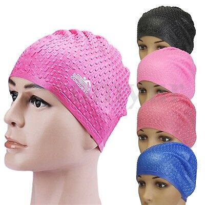 Unisex WaterProof Swimming Drop Silicone Stretch Swim Hat Long Protect Hair Cap