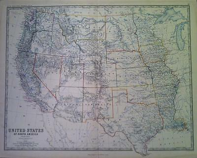 Map of NORTH AMERICA WEST c1869 A K Johnston Royal Atlas VGC, Original, large