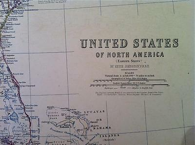 Map of NORTH AMERICA East coast c1869 by A K Johnston Royal Atlas VGC, Large
