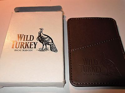 wild turkey leather wallet and cash clip in white box