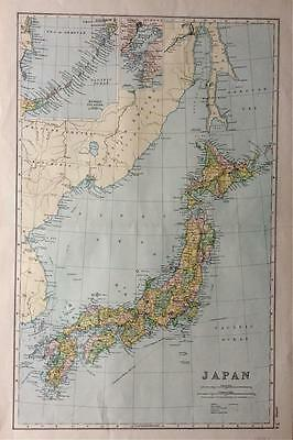 Original Map of JAPAN c1893, by G W BACON, Litho colour VGC