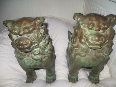 PAIR Chinese Bronze Handcrafted  Foo Dogs19th Century