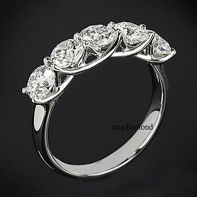 5 Stone 2.5ct Off White Moissanite Filigree Engagement 925  Sterling Silver Ring