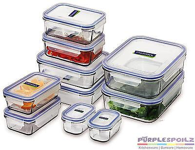NEW GLASSLOCK 10 PIECE FOOD CONTAINER SET WITH LIDS Tempered Glass BPA FREE