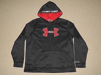 Boys Under Armour Storm Loose Hoodie Sweatshirt Pullover Youth XL YXL Black Red