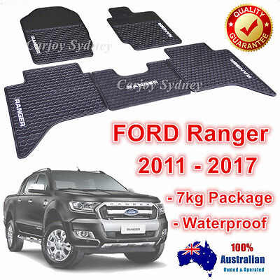 Waterproof Rubber Floor Mats Tailor Made Ford Ranger PX PX2 2011-2017 Dual Cab