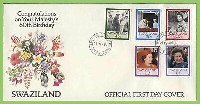 Swaziland 1986 QEII 60th Birthday set  on First Day Cover