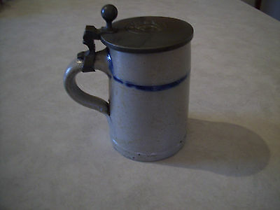 Antique Stoneware Mug - Pewter Top With Insignia