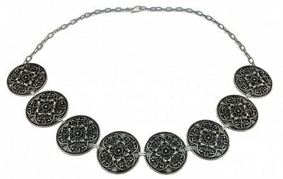 Middle Ages Larp Gewandgürtel Chain Belt Metal Belt Flower Antiqued Silver
