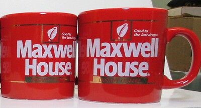 Two Vintage - Maxwell House Instant Coffee Red Mugs Cups - England