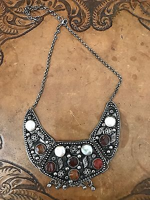Vintage Hand Made Metal Work Tribal Style Necklace (not Sterling)