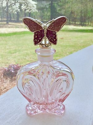 Pretty Vintage Pink Glass Perfume Bottle With Matching Butterfly Stopper