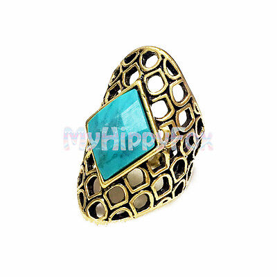 Lucky Brand Antiqued Gold Tone Turquoise Set Stone Statement Ring - Size 7