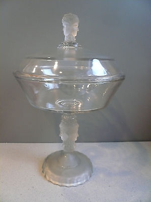 Antique Vtg Duncan Three Faces Sisters Tall Lidded Frosted Glass Compote 13""