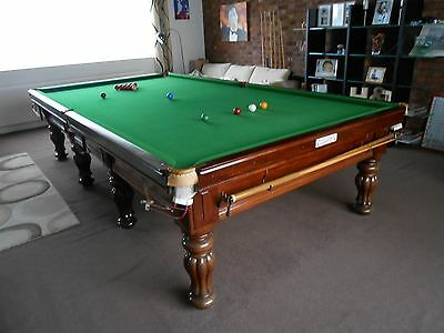 Snooker Table 10' Burroughes and Watts including cues etc lights Score Board
