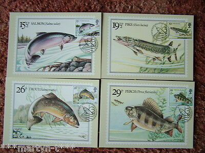 PHQ Cards FDI Front No 65 British River Fishes 1983. 4 card set. Mint Condition.