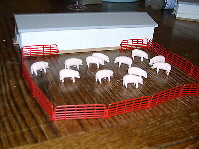 Lot of 12 Hogs, Pigs, Swine with Farm Outbuilding