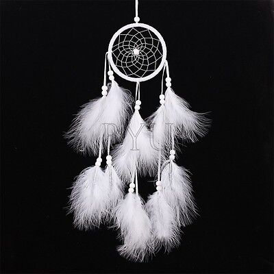 White Handmade Dream Catcher with Feather Wall Hanging Decoration Ornament Gift