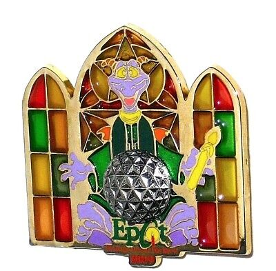 LE Disney Pin✿Figment Candlelight EPCOT Holidays World Stained Glass Choir Robe