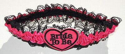 NEW Black lace and pink ribbon bride to be heart wedding bride garter