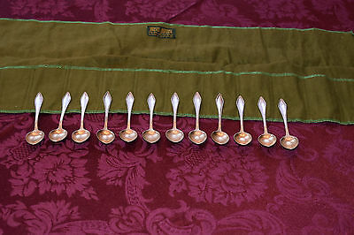ANTIQUE German Sterling Silver 800 Franz Bahner 12 Demitasse Art Deco Spoons NR