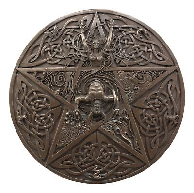 Horned God & Goddess Elemental Celtic Knot Pentacle Wall Plaque Figure Magic