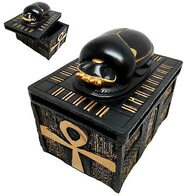 Egypt Scarab Amulet on Ankh Base Jewelry Trinket Box Egyptian Mythology & Magic
