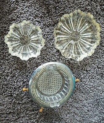 Vintage Cut Crystal Glass - Ashtray - Heavy Lot of 3