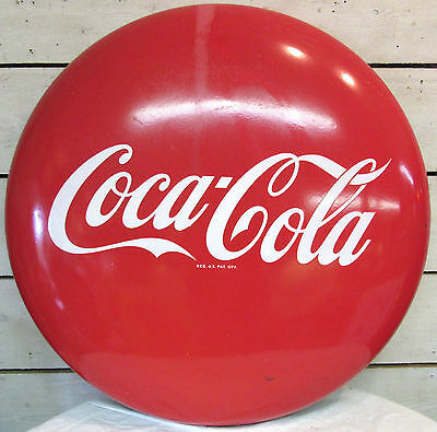 "Coca Cola Button - 36"" Vintage Sign - Great Condition Antique Advertising Red"