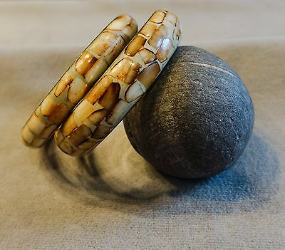 Vintage Matched Set of 2 Brass Bangles w/Queen Conch Shell Inlay~Standard Size