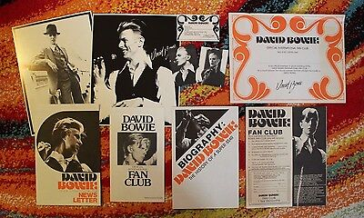 DAVID BOWIE 1970s Official Fan Club Set / 100% Complete, Poster, Cards, Unsigned