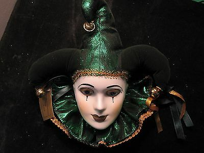"NEW ORLEANS ""GOOD LUCK MASK""  Fancy Faces Mask GLAMOROUS NEW TAG GREEN JESTER"