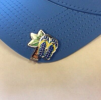 fb0e2dda7d59 Kate Lord Crystal Hat Clip   Ball Marker - Palm Tree   Blue Flip Flops