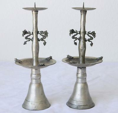 Antique Asian/Chinese Export Silver Dragon Candle Holders. Signed/Marked