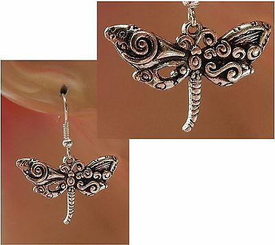 Silver Dragonfly Charm Drop/Dangle Earrings Handmade Jewelry Accessories NEW