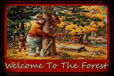 *TREEHUGGER* SMOKEY BEAR WELCOME ALL WEATHER 8x12 METAL SIGN U.S. FOREST SERVICE