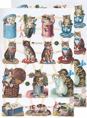 Chromo EF Découpis Chat 7360 Embossed Illustrations Cat
