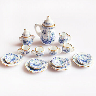 15pcs Blue Floral Porcelain Tea Set 1/12 Dollhouse Miniatures Accessories
