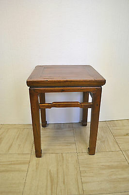 Asian Chinese Antique Wooden Square Sitting Stool Side End Table Stand 73-41