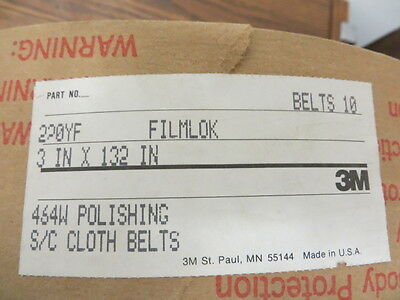 "3"" x 132"" 3M Filmlok Cloth Polishing Belts 220YF Grit ( 20 Pcs. )"